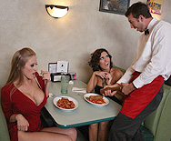 Two Cock Hungry MILFS dining... - Abby Rode - Dylan Ryder - 1