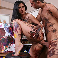Luscious paints a masterpiece with her phat ass.